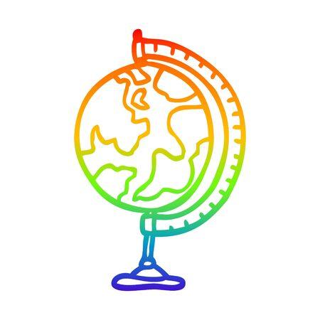 rainbow gradient line drawing of a cartoon world globe