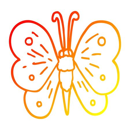 warm gradient line drawing of a cartoon butterfly Ilustracja