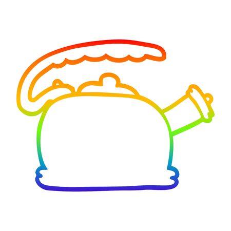 regenbooggradiëntlijntekening van een cartoonfluitketel
