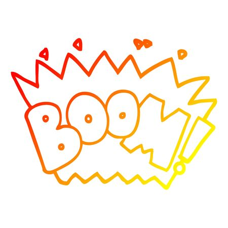 warm gradient line drawing of a cartoon word boom Illusztráció