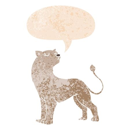 cartoon lioness with speech bubble in grunge distressed retro textured style Stock Illustratie