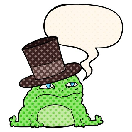 cartoon rich toad with speech bubble in comic book style Ilustração