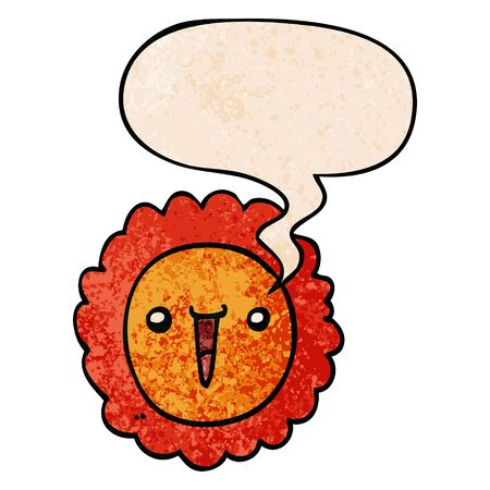 cartoon sunflower with speech bubble in retro texture style