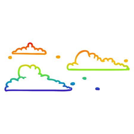 rainbow gradient line drawing of a clouds drifting by