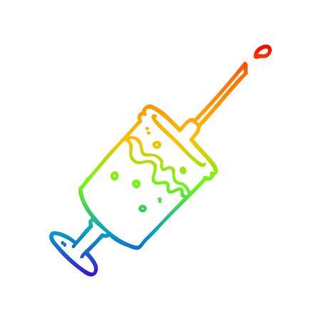 rainbow gradient line drawing of a cartoon syringe needle Ilustrace