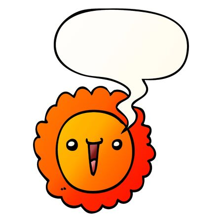 cartoon sunflower with speech bubble in smooth gradient style