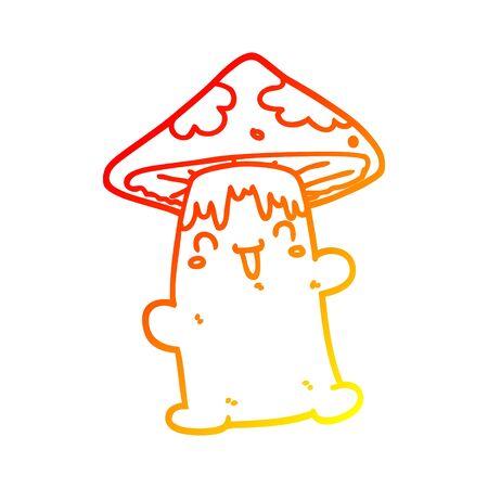 warm gradient line drawing of a cartoon mushroom character