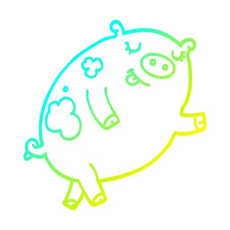 cold gradient line drawing of a cartoon dancing pig
