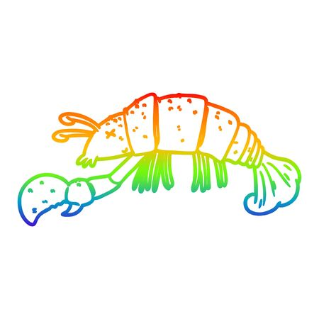 rainbow gradient line drawing of a cartoon lobster Ilustração