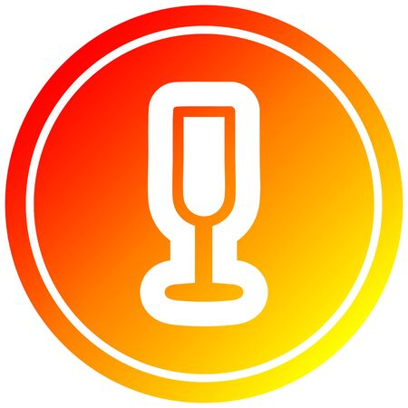 champagne flute circular icon with warm gradient finish