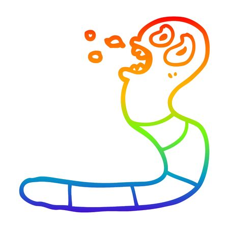 rainbow gradient line drawing of a cartoon frightened worm