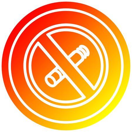 no smoking circular icon with warm gradient finish Illustration