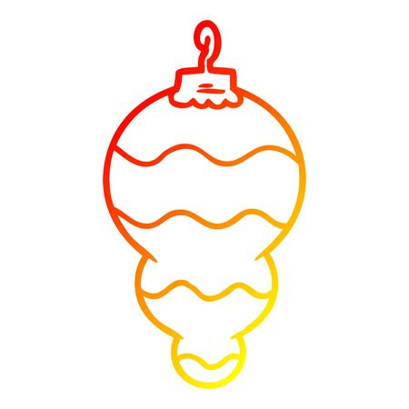 warm gradient line drawing of a cartoon christmas decoration