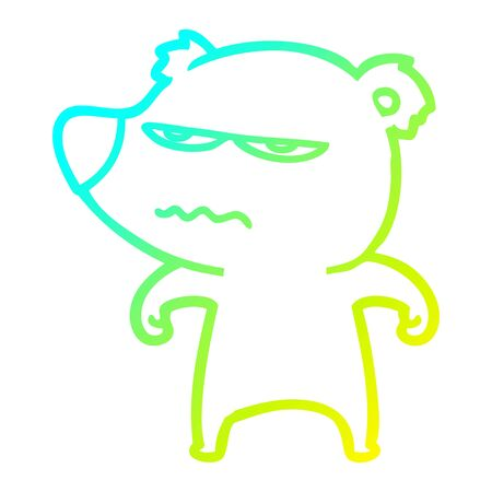 cold gradient line drawing of a annoyed bear cartoon