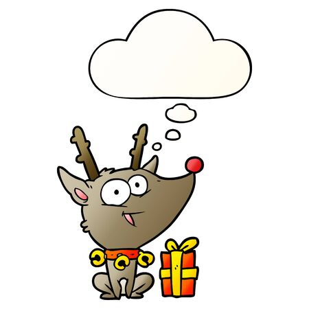 cartoon christmas reindeer with thought bubble in smooth gradient style