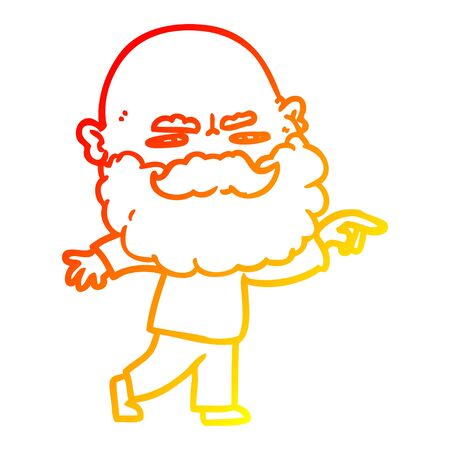 warm gradient line drawing of a cartoon man with beard frowning and pointing