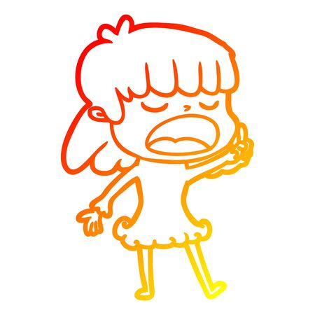 warm gradient line drawing of a cartoon woman talking loudly