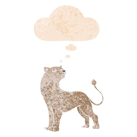 cartoon lioness with thought bubble in grunge distressed retro textured style