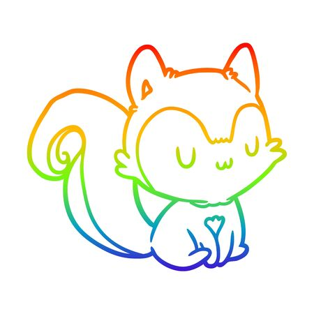 rainbow gradient line drawing of a squirrel  イラスト・ベクター素材