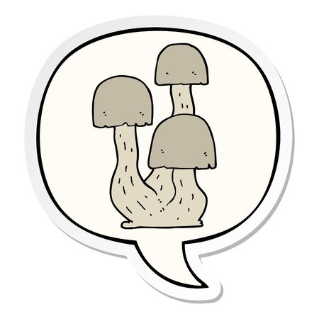 cartoon mushroom with speech bubble sticker