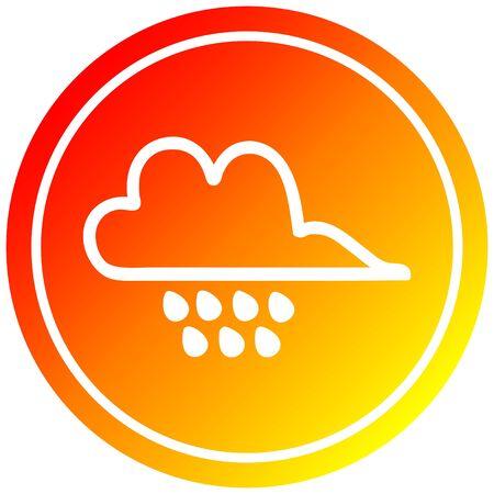 rain cloud circular icon with warm gradient finish