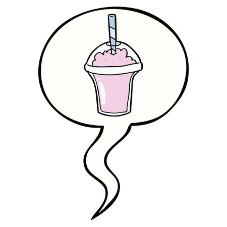 cartoon smoothie with speech bubble