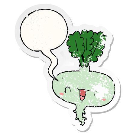 cartoon turnip with speech bubble distressed distressed old sticker Ilustracja