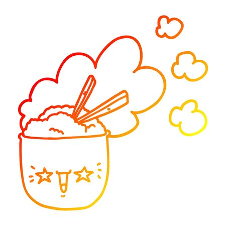 warm gradient line drawing of a cute cartoon hot rice bowl