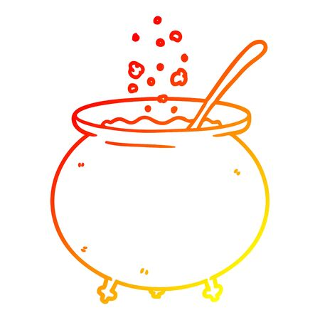 warm gradient line drawing of a cartoon witch cauldron
