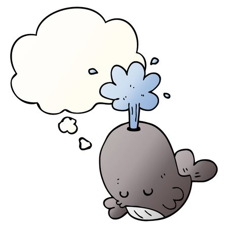 cartoon spouting whale with thought bubble in smooth gradient style Illusztráció