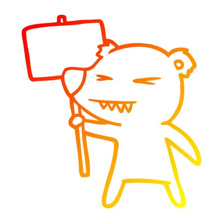 warm gradient line drawing of a angry bear cartoon protesting