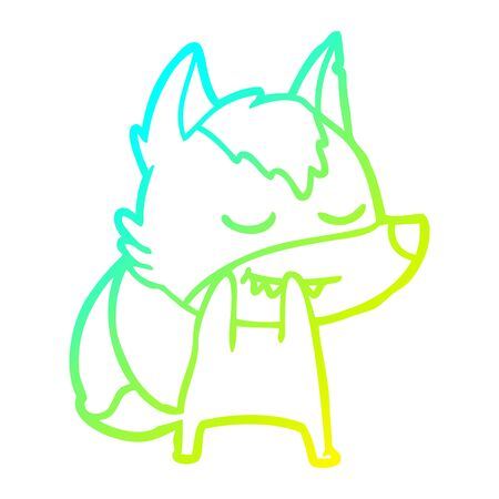 cold gradient line drawing of a laughing cartoon wolf