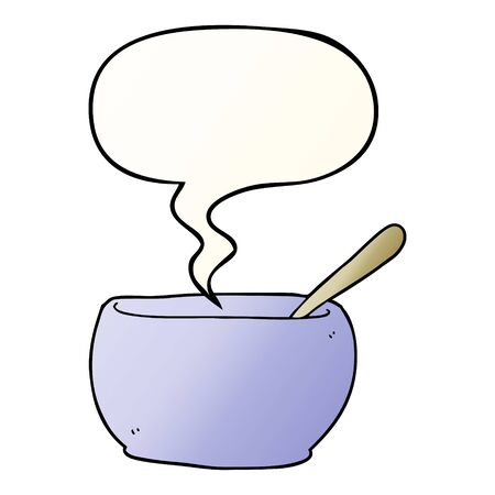 cartoon soup bowl with speech bubble in smooth gradient style