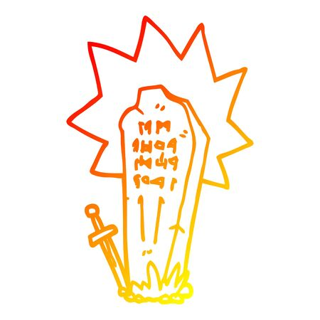 warm gradient line drawing of a cartoon heros grave Illustration