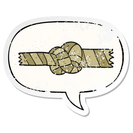 cartoon knotted rope with speech bubble distressed distressed old sticker Illustration