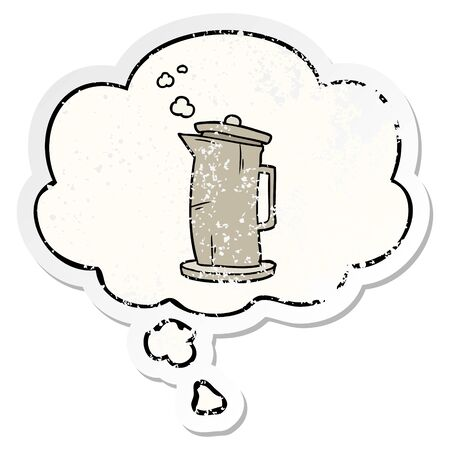 cartoon old kettle with thought bubble as a distressed worn sticker