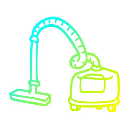 cold gradient line drawing of a cartoon vacuum