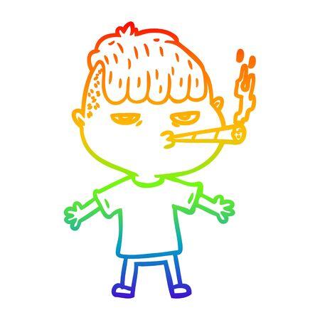 rainbow gradient line drawing of a cartoon man smoking Stockfoto - 130300264