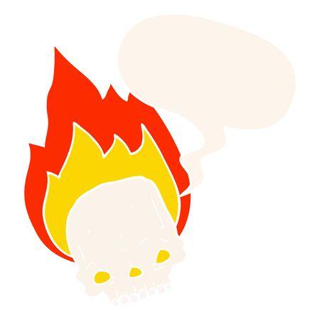 spooky cartoon flaming skull with speech bubble in retro style