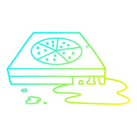 cold gradient line drawing of a cartoon greasy pizza