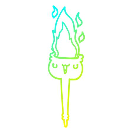 cold gradient line drawing of a cartoon flaming torch