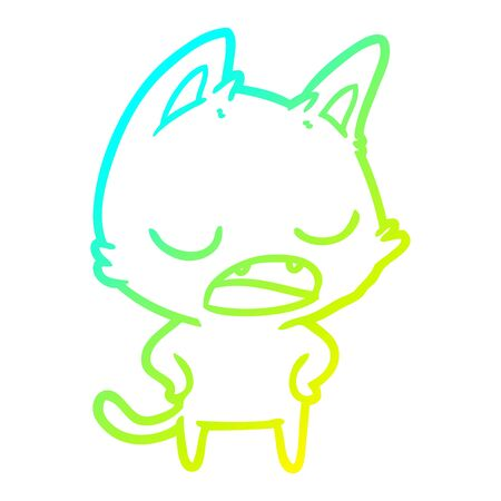 cold gradient line drawing of a talking cat cartoon