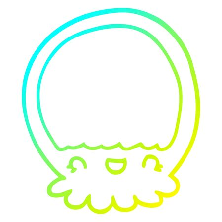 cold gradient line drawing of a cartoon jellyfish