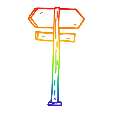 rainbow gradient line drawing of a cartoon painted direction sign posts