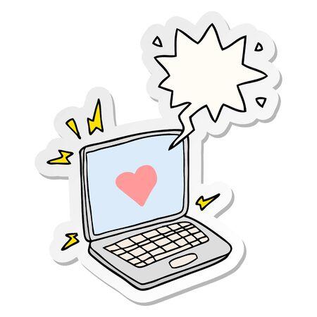 internet dating cartoon  with speech bubble sticker  イラスト・ベクター素材