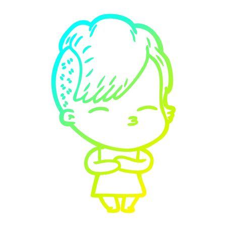 dessin au trait à gradient froid d'une fille louche de dessin animé Vecteurs