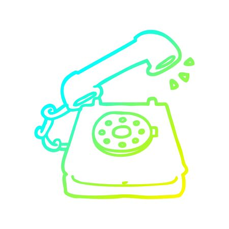 cold gradient line drawing of a cartoon old telephone