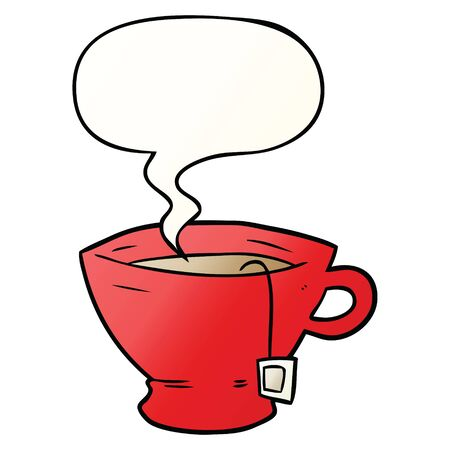 cartoon cup of tea with speech bubble in smooth gradient style