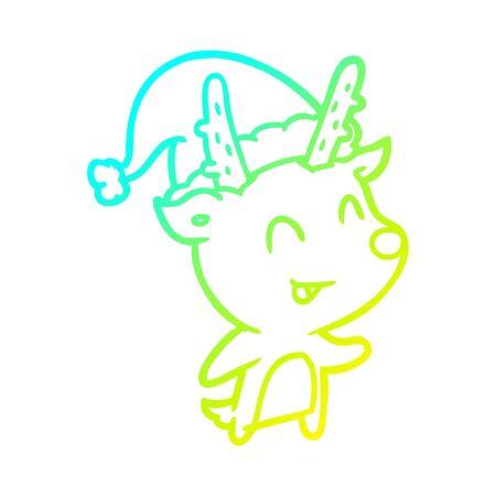 cold gradient line drawing of a christmas reindeer Ilustração