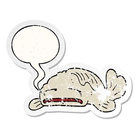 cartoon sad old fish with speech bubble distressed distressed old sticker
